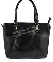 Оригинальная стильная прочная элегантная женская сумка с натуральной кожи   art. 859 черный