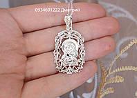 Серебряная ладанка Богородица с камнями