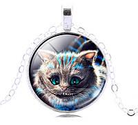 Подвеска кабошон чеширский кот в серебре