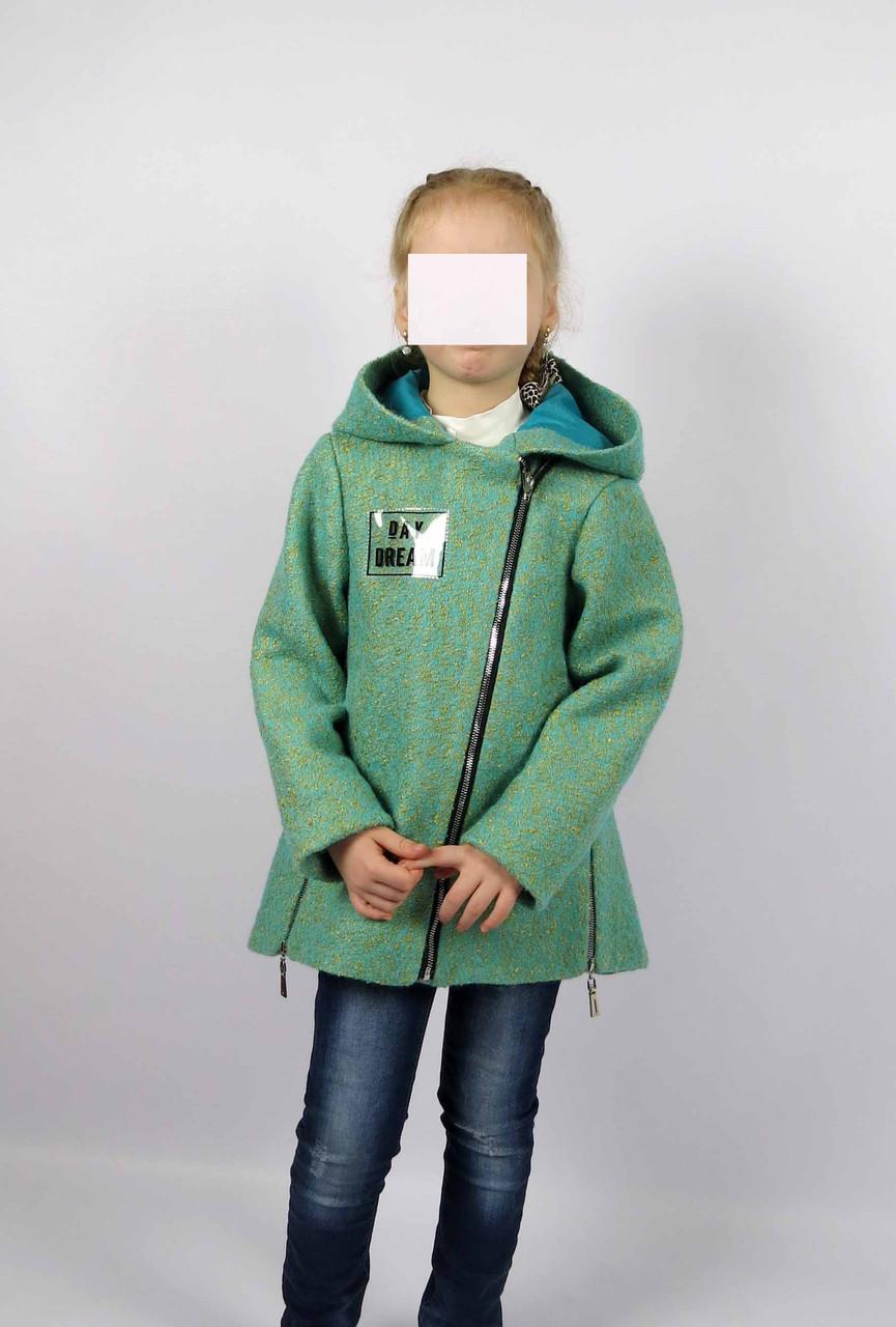 Пальто весна-осень код 588 размер 122-140 (6-10 лет) цвет зел, фото 3