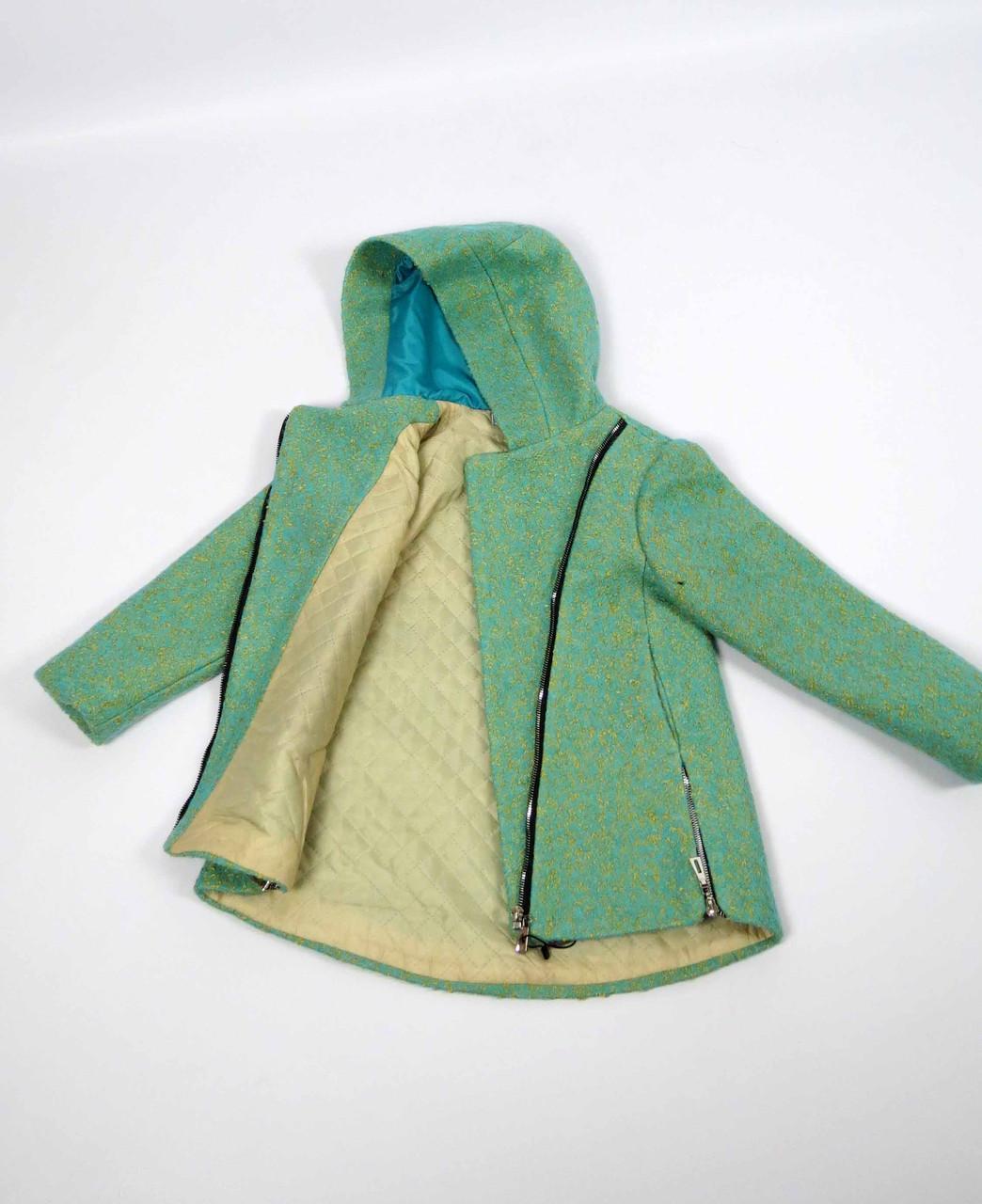 Пальто весна-осень код 588 размер 122-140 (6-10 лет) цвет зел, фото 4