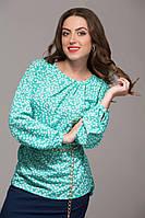 Прямая блуза зеленая с цветами