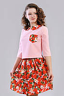 Нарядный костюм красивый  для девочки из кофты и юбки Лилия  размеры 146, 152, 158 с принтом