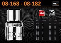 """Головка торцевая 6-гр, 3/8"""", 8 - 22 мм., NEO 08-168 - 08-182"""