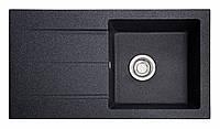 Прямоугольная гранитная мойка с крылом для кухни черная, фото 1