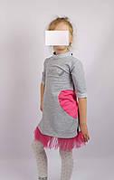 Платье трикотажное код 594 размеры 110-128 (5-7 лет) цвет серый