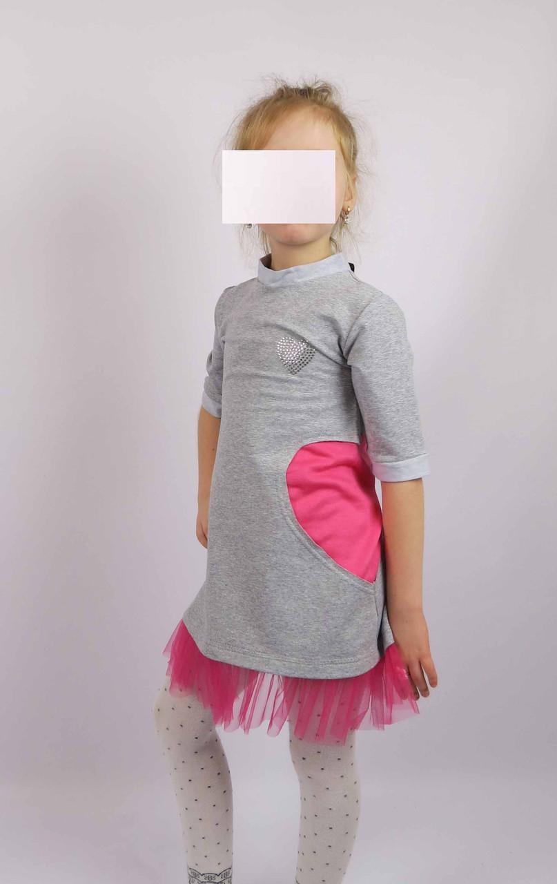 Платье трикотажное код 594 размеры 110-128 (5-7 лет) цвет серый, фото 1