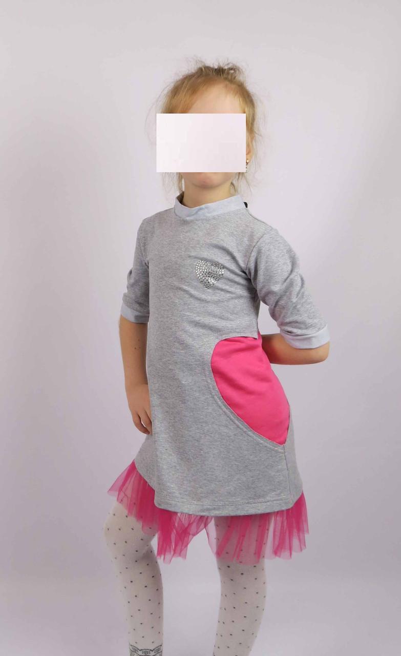 Платье трикотажное код 594 размеры 110-128 (5-7 лет) цвет серый, фото 2