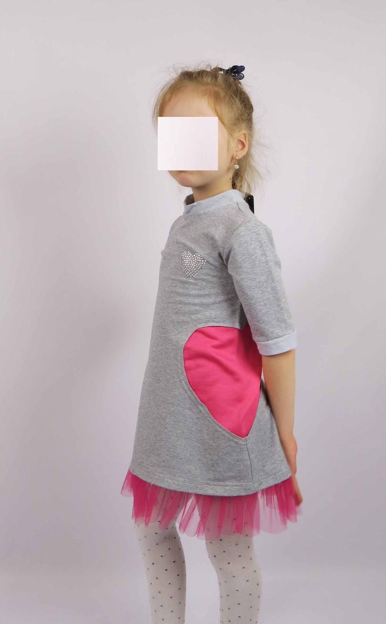 Платье трикотажное код 594 размеры 110-128 (5-7 лет) цвет серый, фото 3