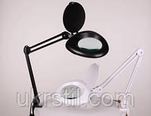 Настольная лампа-лупа 6016 LED, 3 диоптрии черная