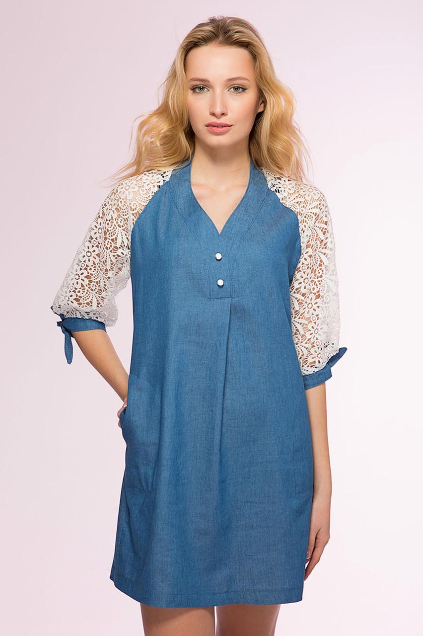 Платья из джинсы с кружевом фото