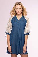 Оригинальное платье из джинсы с кружевом синее