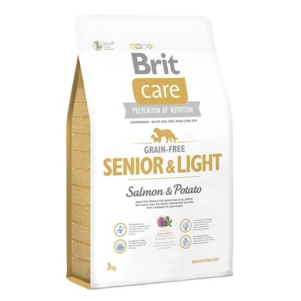 Сухой корм Brit Care Grain-free Senior&Light Salmon для собак с лососем, 1 кг