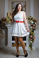 """Платье """"Барби"""" (белый+красный пояс)"""