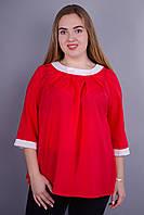 Рената. Стильная блуза больших размеров. Красный.