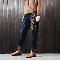 Стильные джинсы с вышивкой на резинке, фото 1