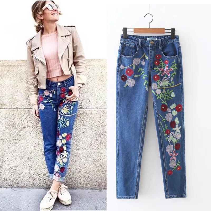 6018ad288c1 Стильные джинсы с вышивкой цветы  продажа