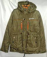 Куртка парка юниор демисезонная для мальчика 12-16 лет, хаки