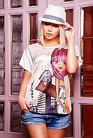 """Стильная женская футболка """"Сool girl 10"""" (Белый)"""