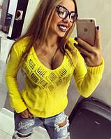 Свитер женский вязаный желтый яркий 42-46р