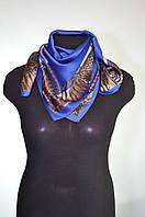 Платок женский голубой атласный