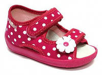 Детские сандали для девочки розовые в горошек размер 19-27 Renbut  Ортопедическая вкладка.