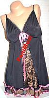 Женская ночнушка,пеньюар,черная розовые вставки