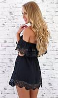Пляжное платье черное с открытыми плечами