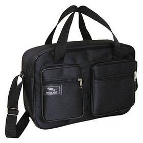 Мужская сумка через плечо очень удобная папка портфель А4 в2620 черная  35х24х10см