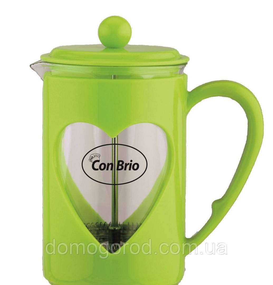 Заварник Con Brio,стекло,пластик,800мл СВ5680зел
