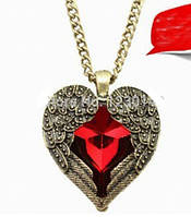 Ожерелье в форме сердца с камнем под старину