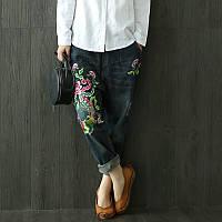 Стильные джинсы с оригинальной вышивкой, фото 1