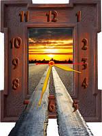 """Настенные фигурные часы """"Дорога"""", авторские часы, часы с объемным эффектом, часы на стену, часы для дома"""