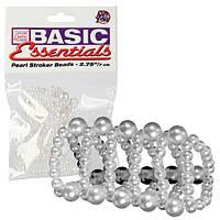 Кольцо Насадка на пенис с эрекционные бусы Basic Essentials Pearl Ring Large оргазм гарантирован 100%