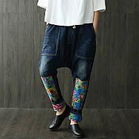 Оригинальные джинсы с принтом, заниженная посадка, фото 1