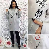 Женское пальто (осень- весна)   Цвет : светло серый  Ткань : шерсть высокого качества (очень легкое и теплое) , качественная подкладка - принт, па