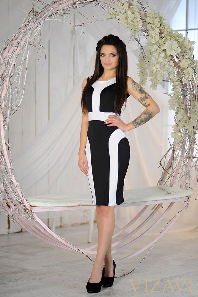 Платье облегающее черно-белое с коротким рукавом.Ткань : качественный микро дайвинг , производство Корея  Размер : 42-44, 44-46  Цвет 1: комбинация (