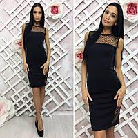 Платье черное декольте сетка.Без рукавовТкань : микро дайвинг ( Корея ), вставки из евро сетки. Размер 2: 42-4