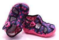 Детские сандали для девочки Renbut 13-128 размер 19-25 Ортопедическая вкладка. Синее в розовые бантики