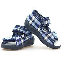 Детские сандали для мальчика Renbut 13-128 размер 19-25 Ортопедическая вкладка. Синяя клетка