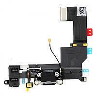 Шлейф для iPhone 5S. с разъмом зарядки. коннектором наушников и микрофоном. черный