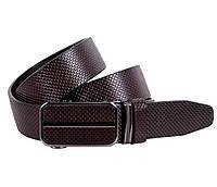 Классический мужской кожаный ремень 3,2 см коричневый Итальянского производства