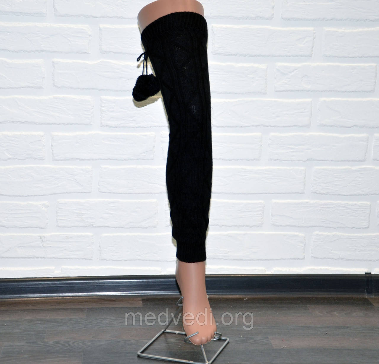 Черные женские гетры выше колена, заколенки