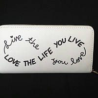"""Стильный женский кошелёк на молнии """"Love the life you live"""""""
