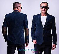Мужской пиджак Лик темно-синий вельветовый