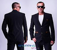 Мужской черный вельветовый пиджак Ян