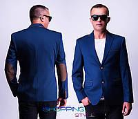 Мужской синий пиджак Руслан с латками и коричневыми окантовками