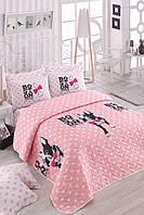 Покрывало стеганное с наволочкой Eponj Home - Boston Pembe розовый 160*220