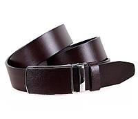 Долговечный мужской кожаный ремень классический 3,2 см коричневый