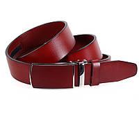 Стильный мужской кожаный ремень классический 3,2 см коричневый